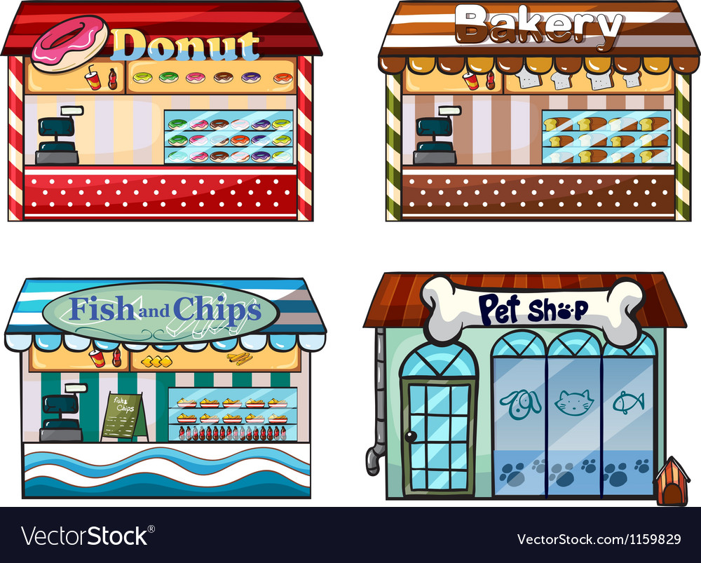 A donut store bakery fish and chips store and a vector