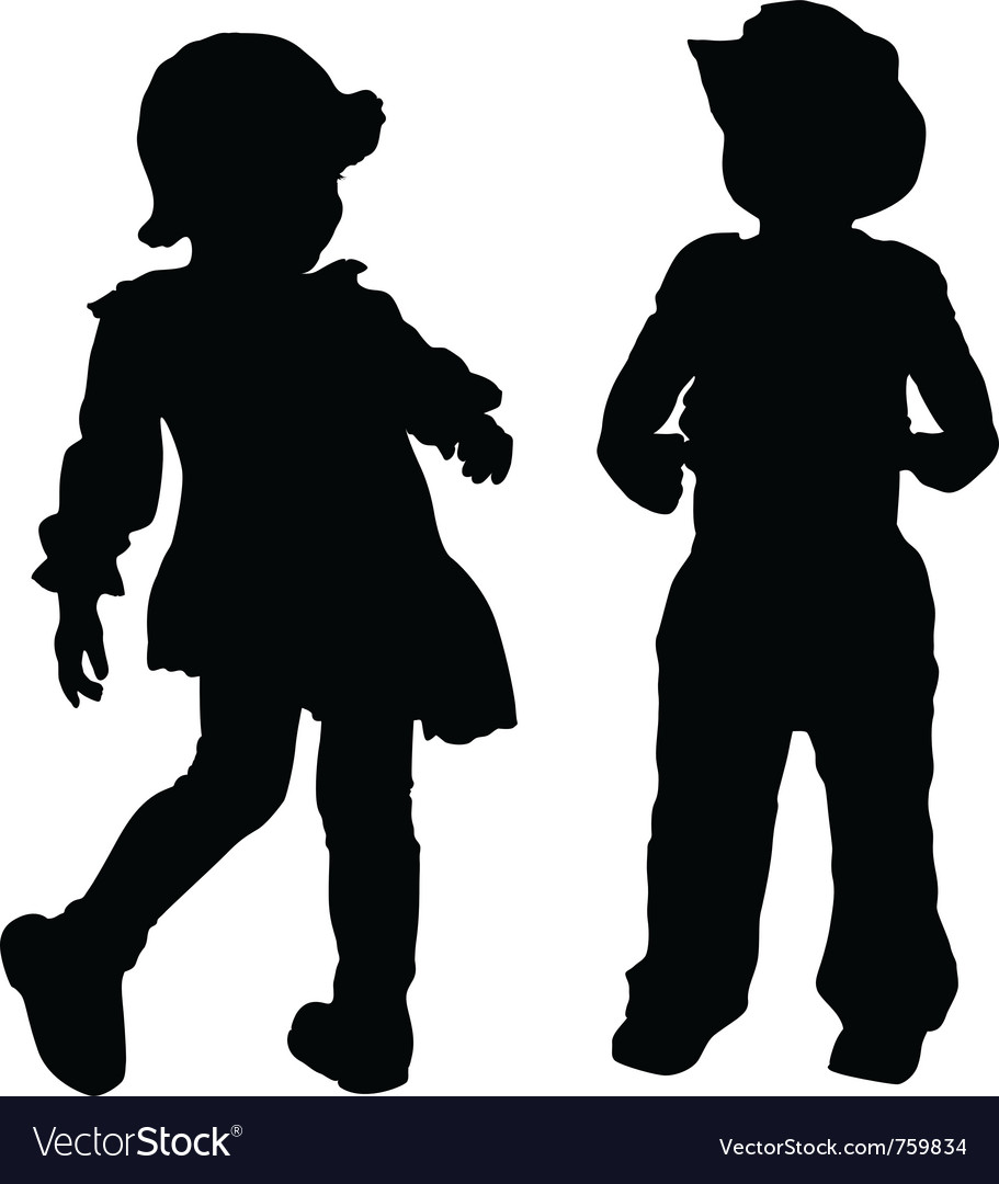 Free kids silhouettes vector