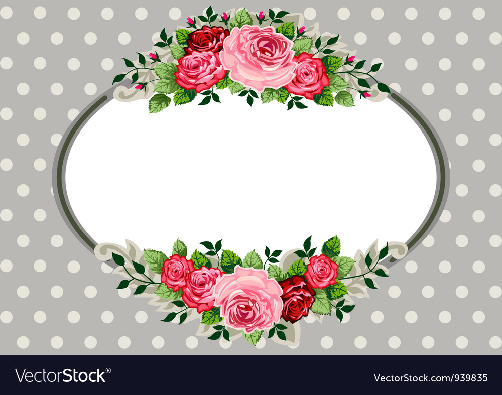 Retro oval roses vintage vector