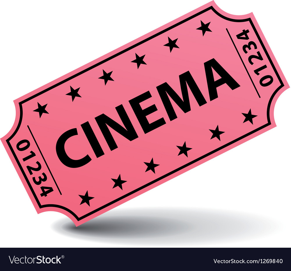 Pink cinema ticket vector