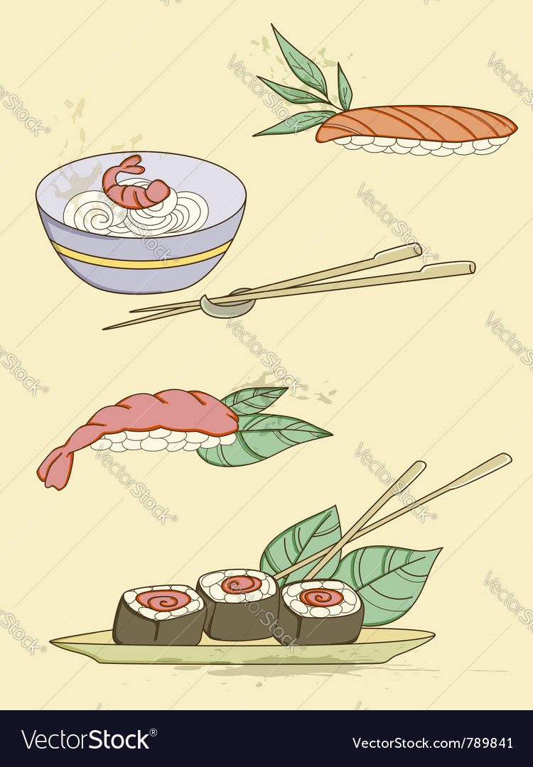 Drawn seafood icons vector