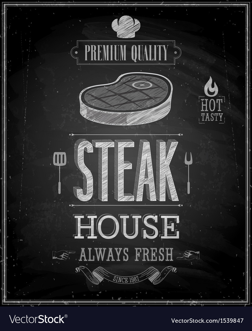 Steak chalk vector