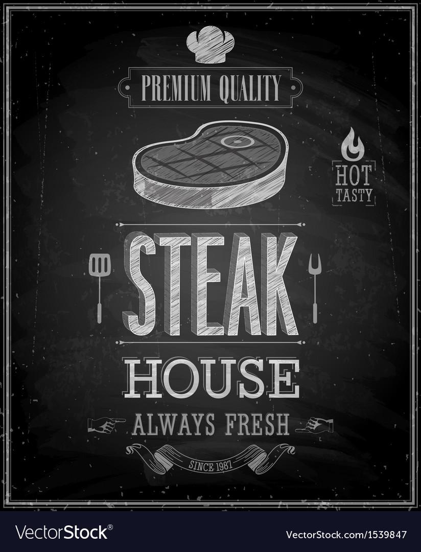 Steak chalk vector