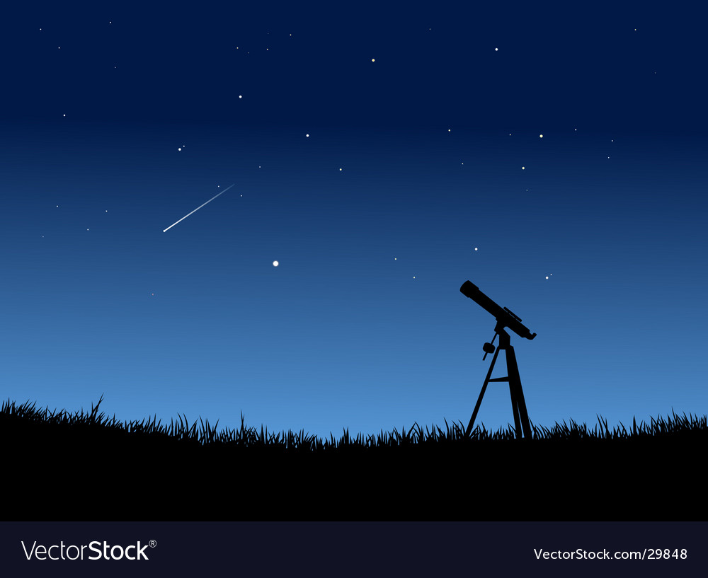 Stargazing with falling star vector