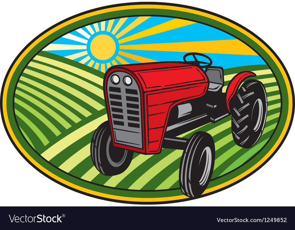 Rural landscape with fields and tractor vector