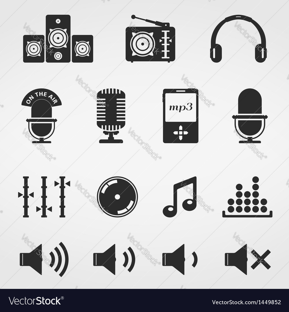 Sound and music icons vector