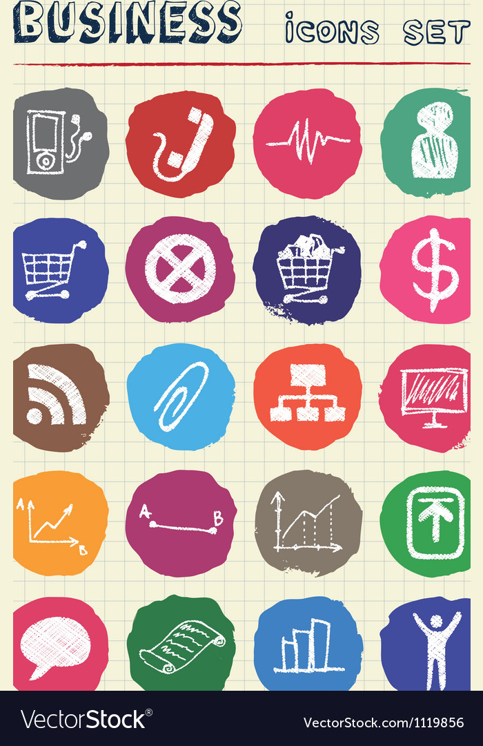 Business and media web icons set drawn by chalk vector