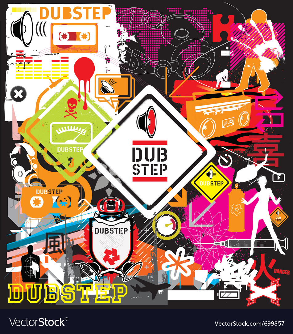 Free dubstep flyer design elements vector