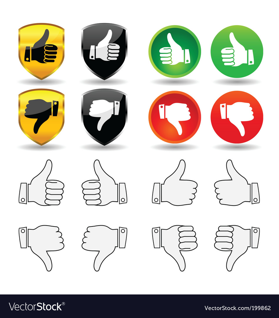 Hand gesture set 1 thumbs vector