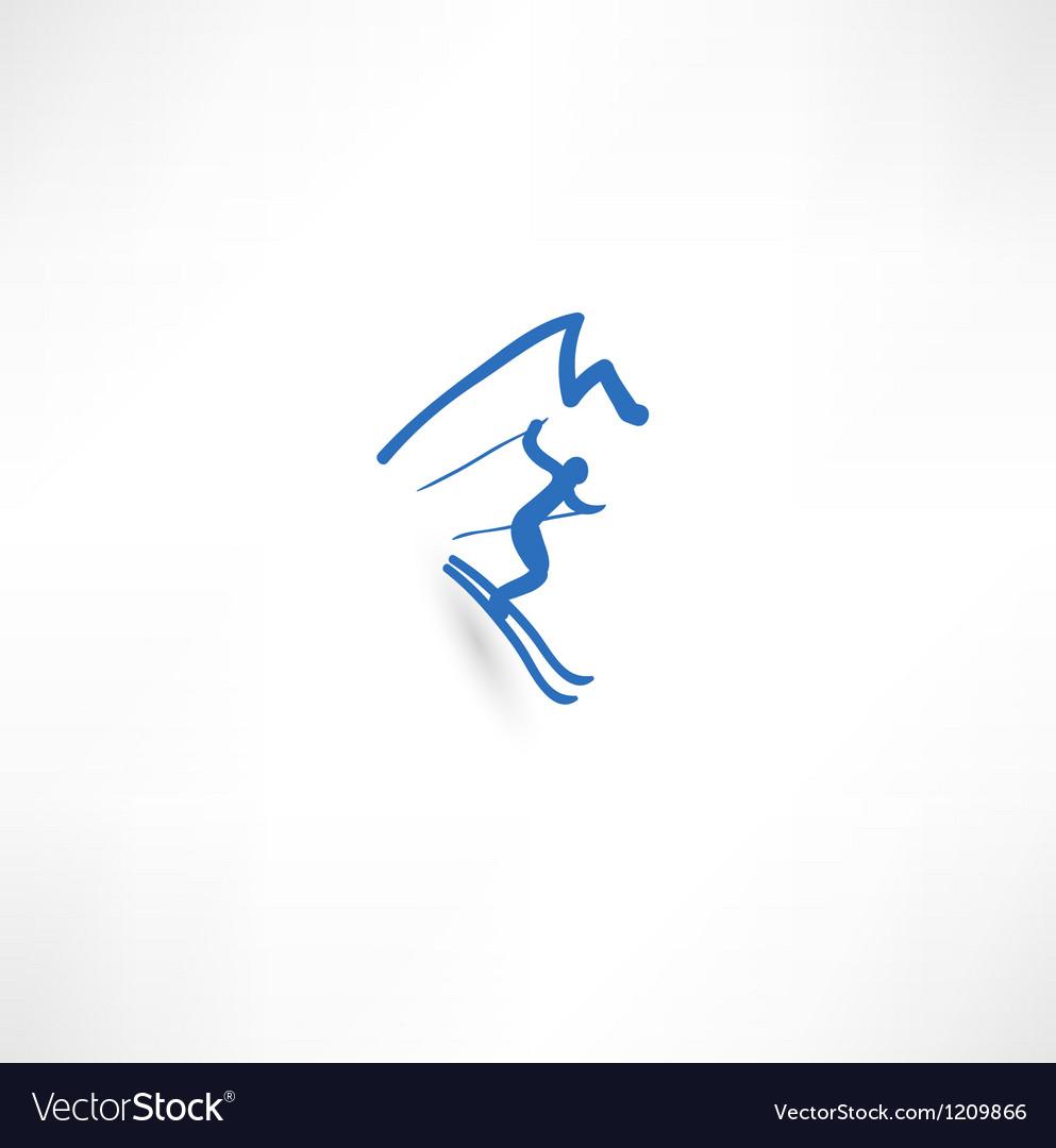 Skier icon vector