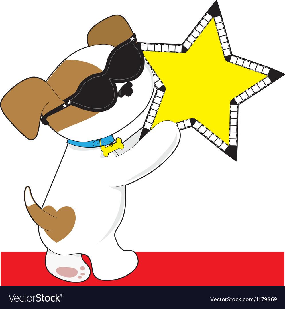 Cute puppy star vector