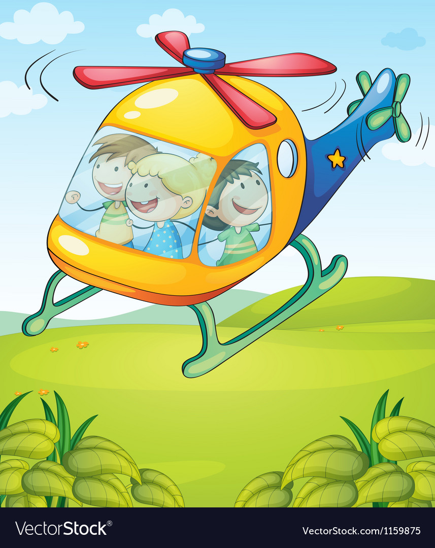 A colorful helicopter with happy kids vector