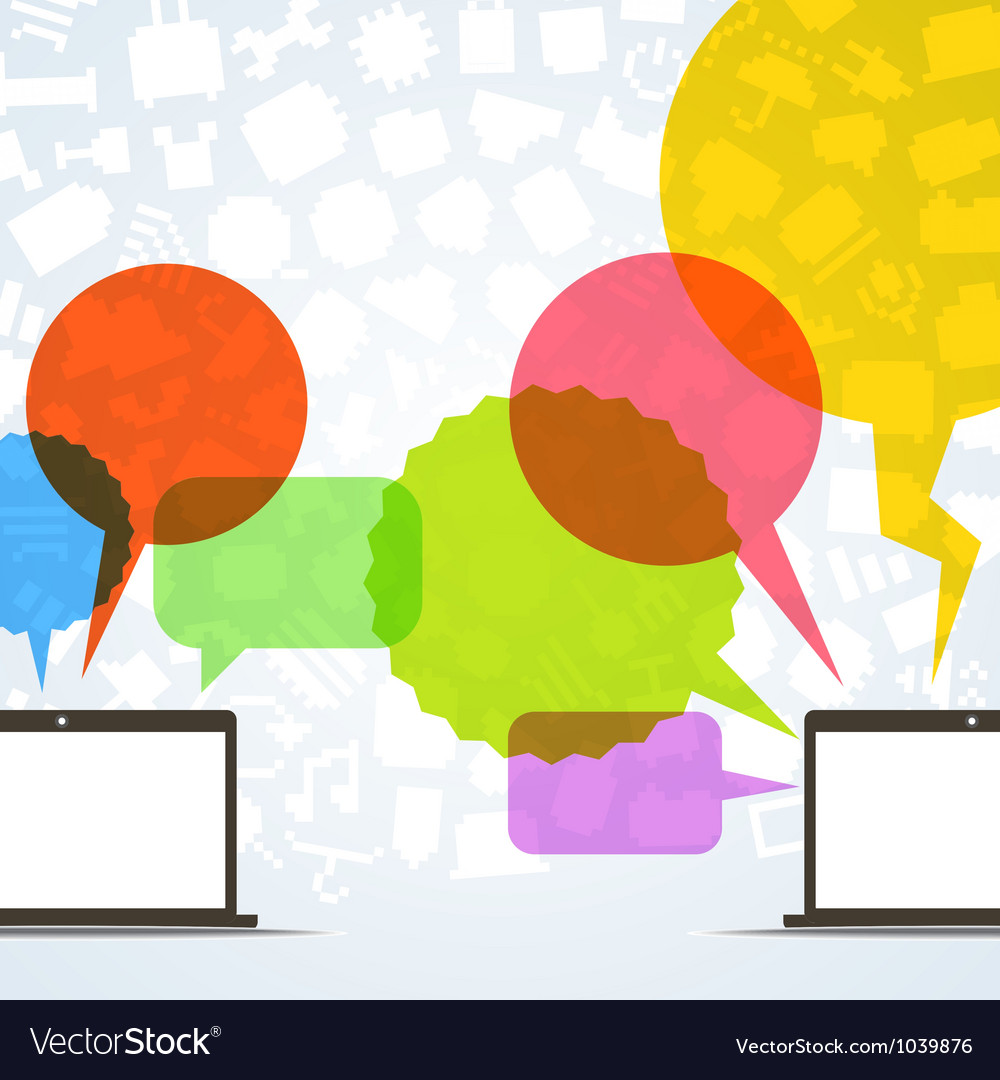 Abstract speech clouds and two connected computers vector