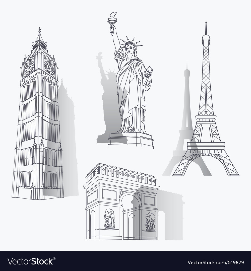 Set of famous landmarks vector