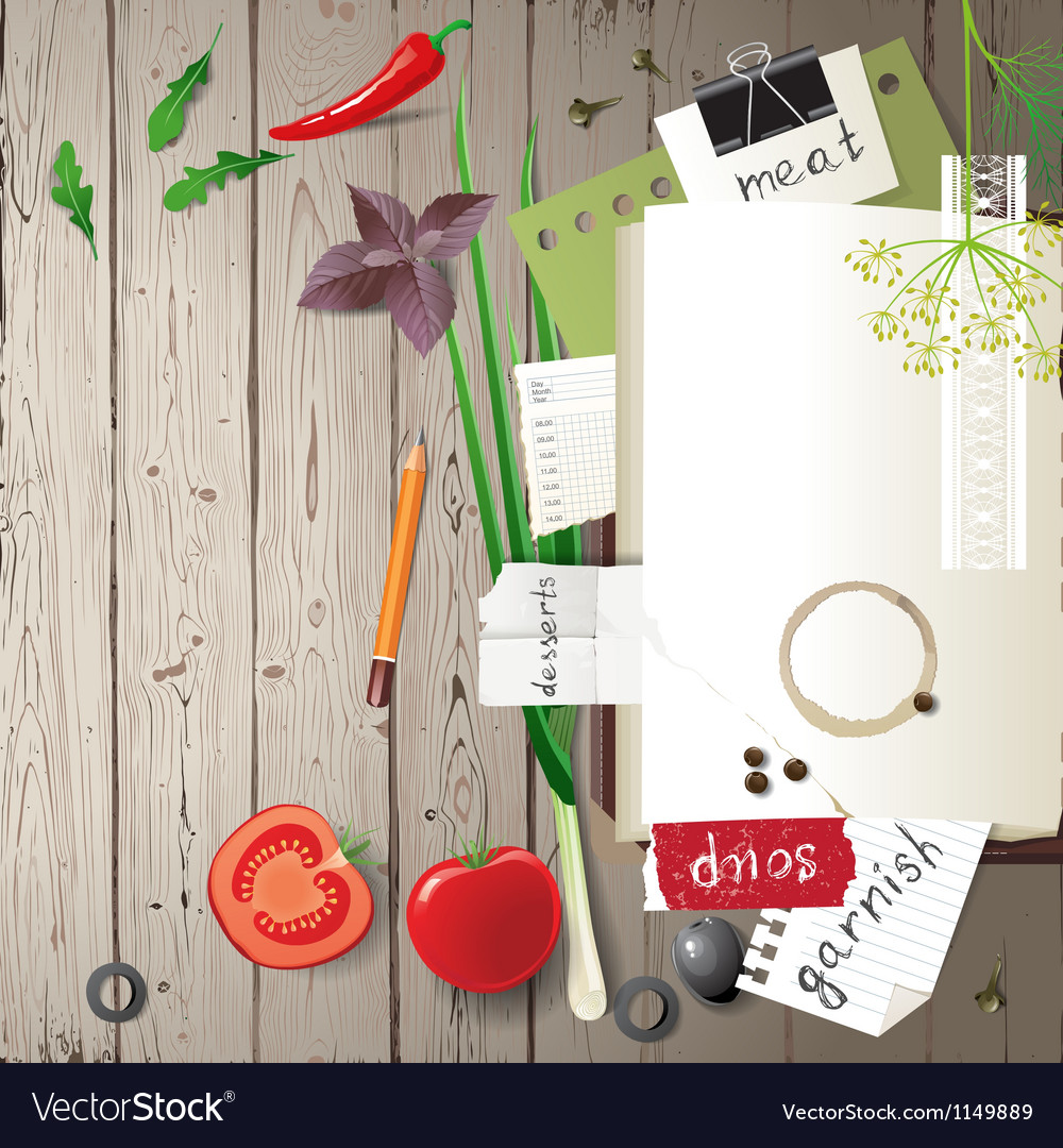 Cookbook on wooden background vector