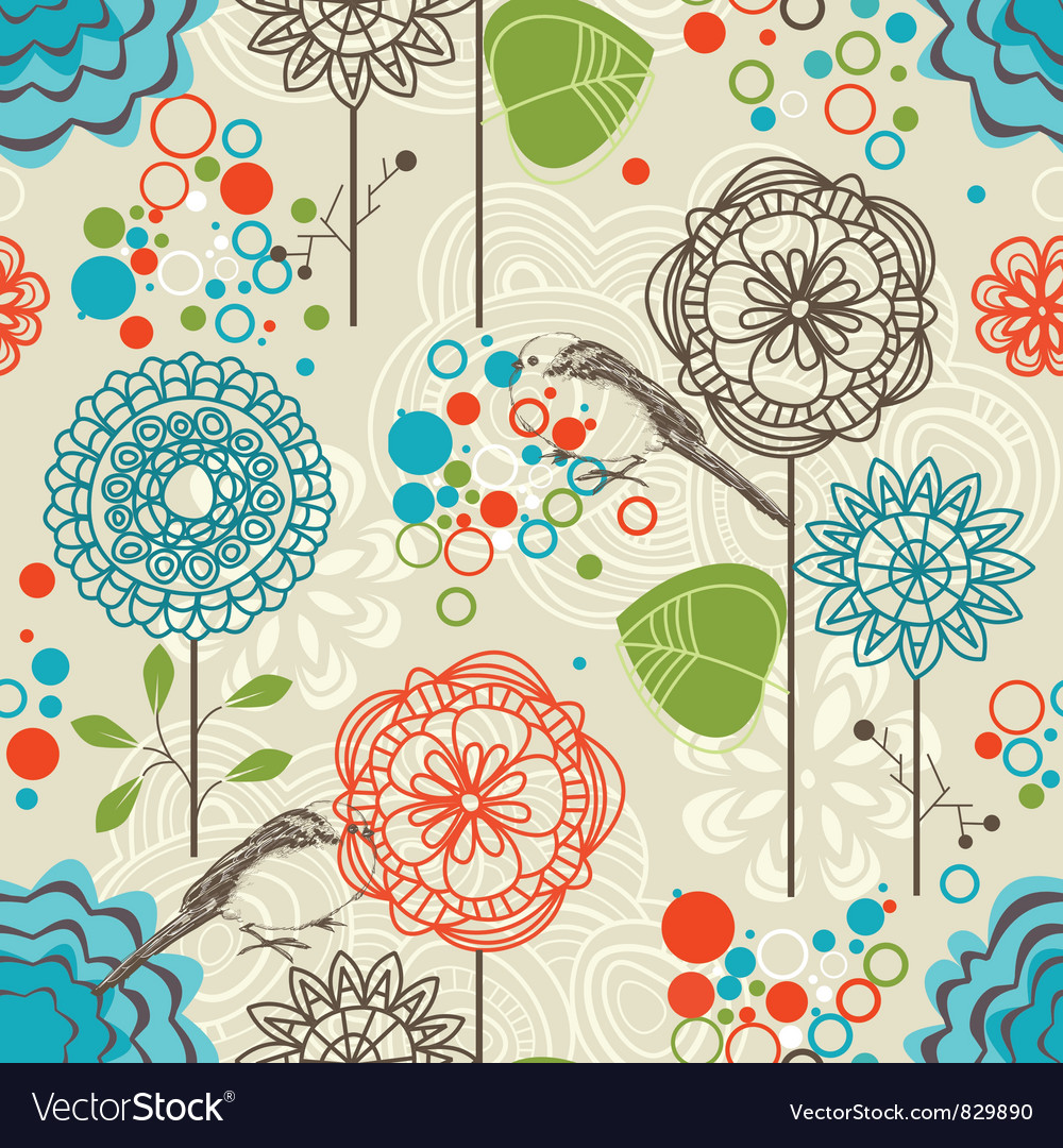 Retro garden seamless pattern vector