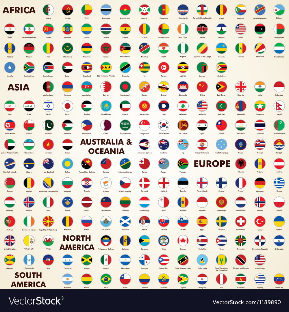 World flags round icons vector