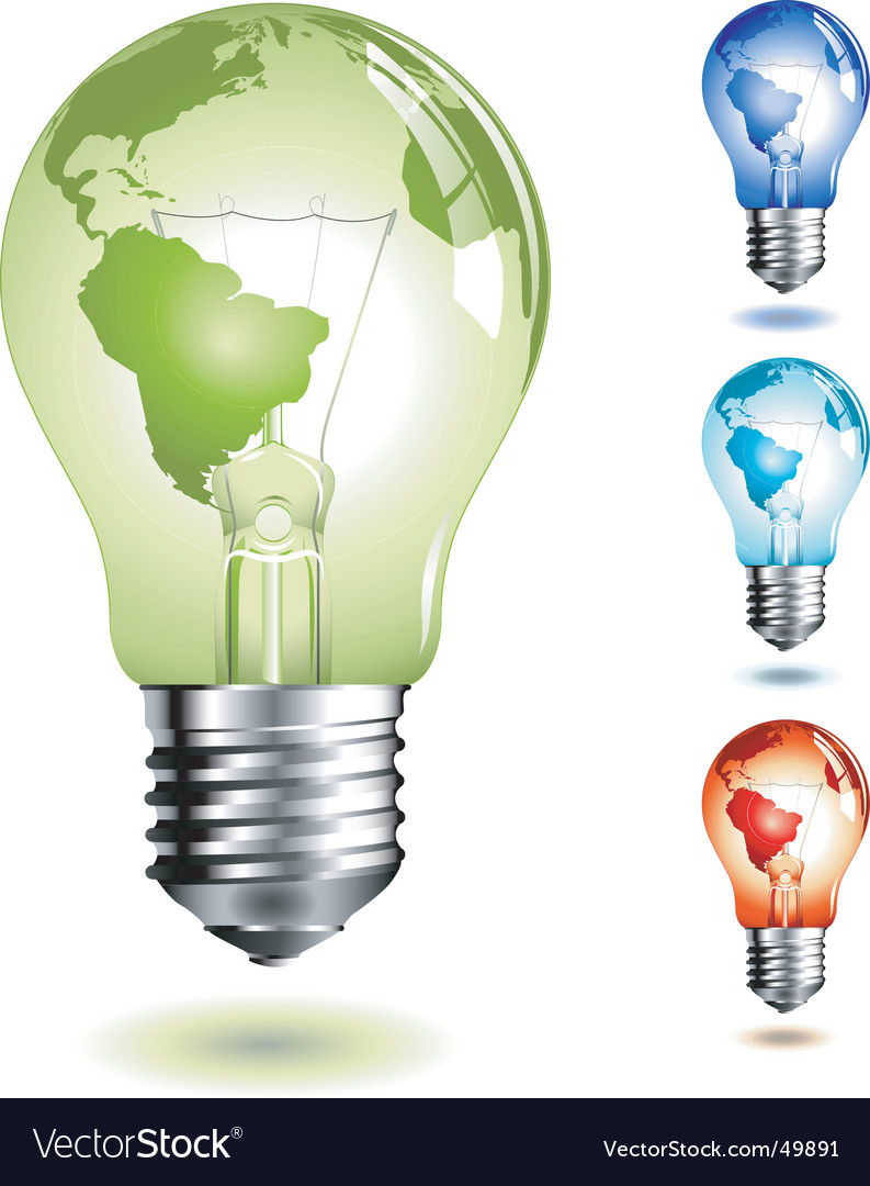 Light bulb with worldmap vector