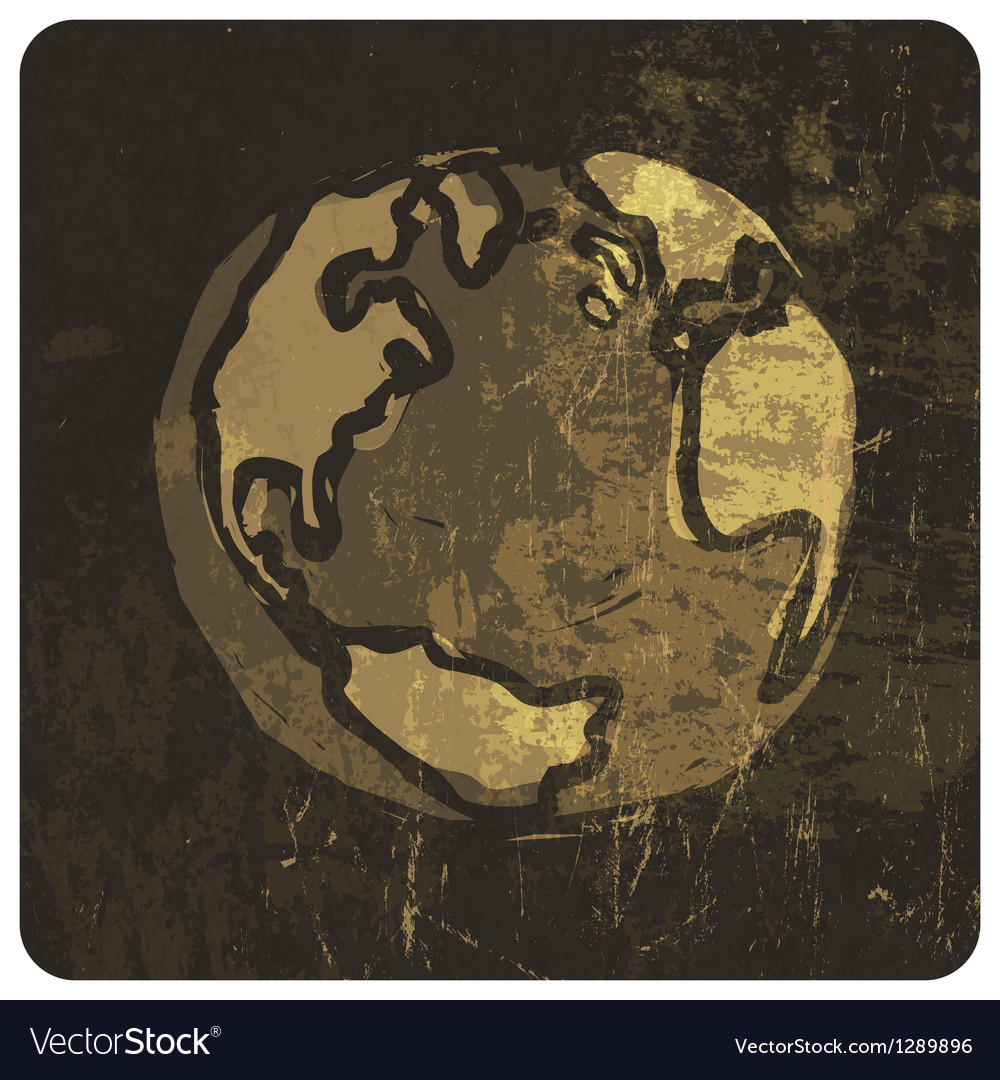 Grunge earth symbol hand drawn vector