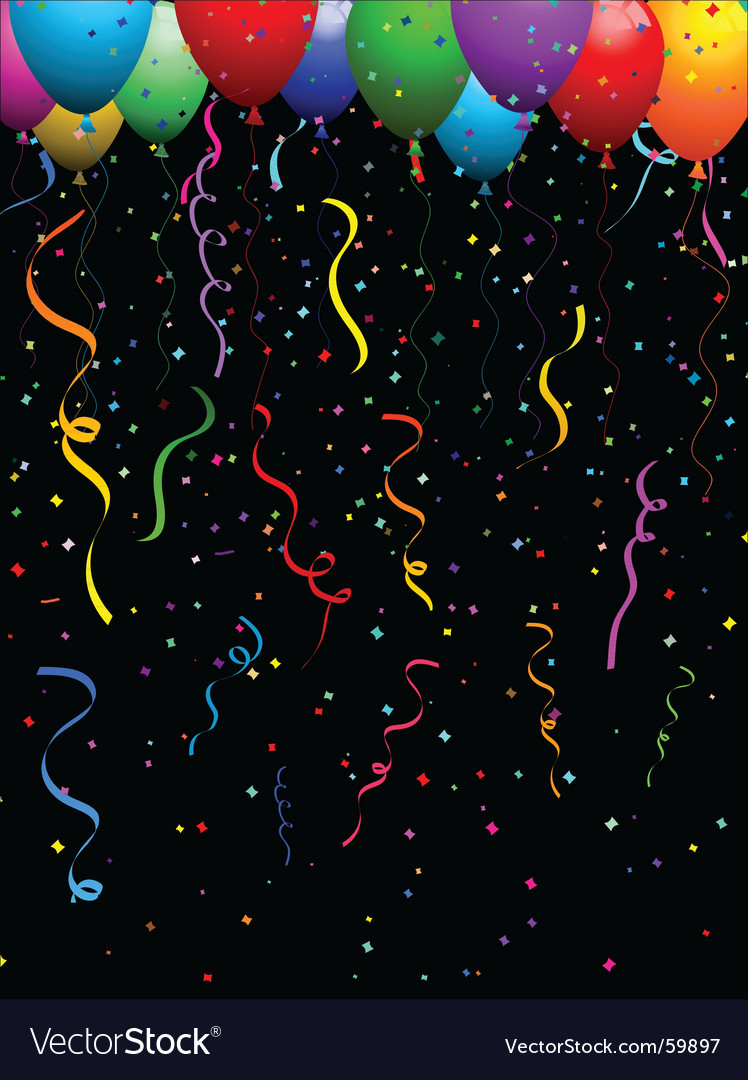 Confetti and balloons vector