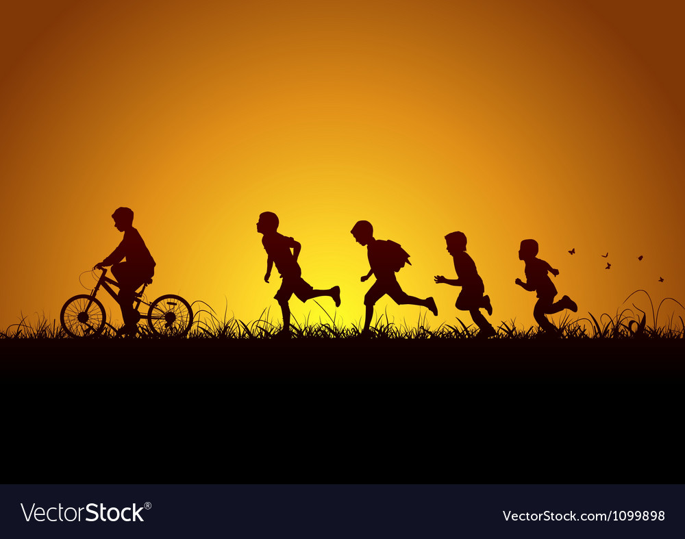 Nature and children vector
