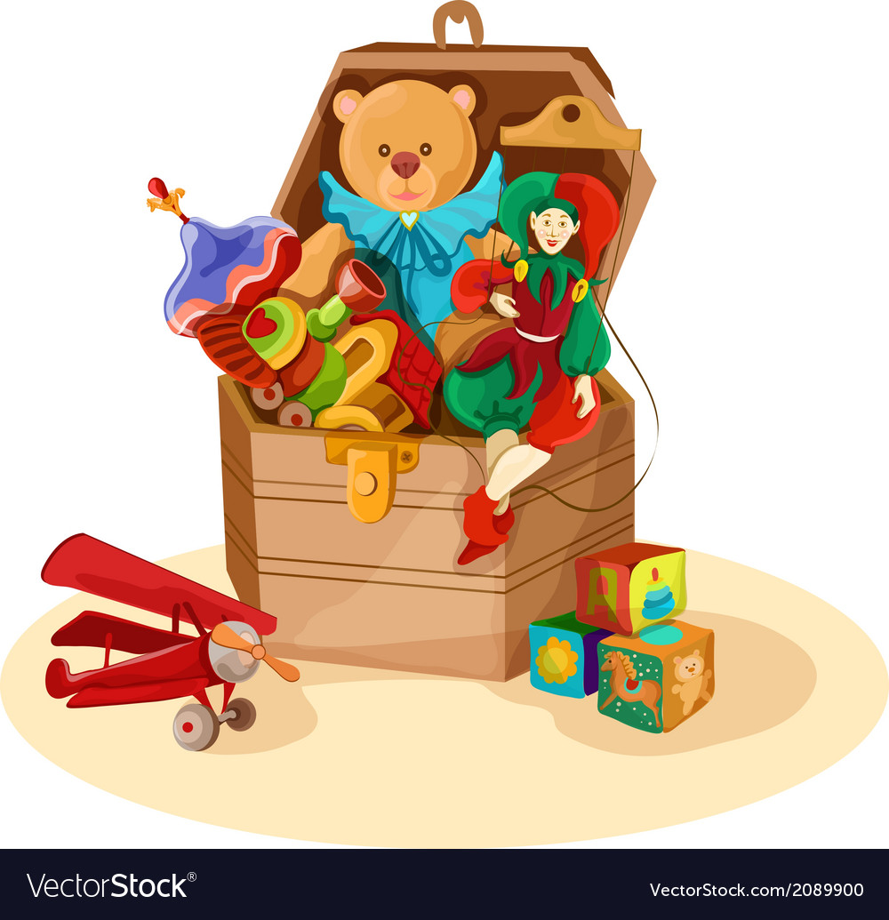 Box with retro toys vector