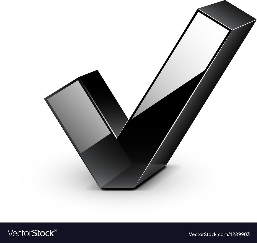 3d black glossy tick icon vector