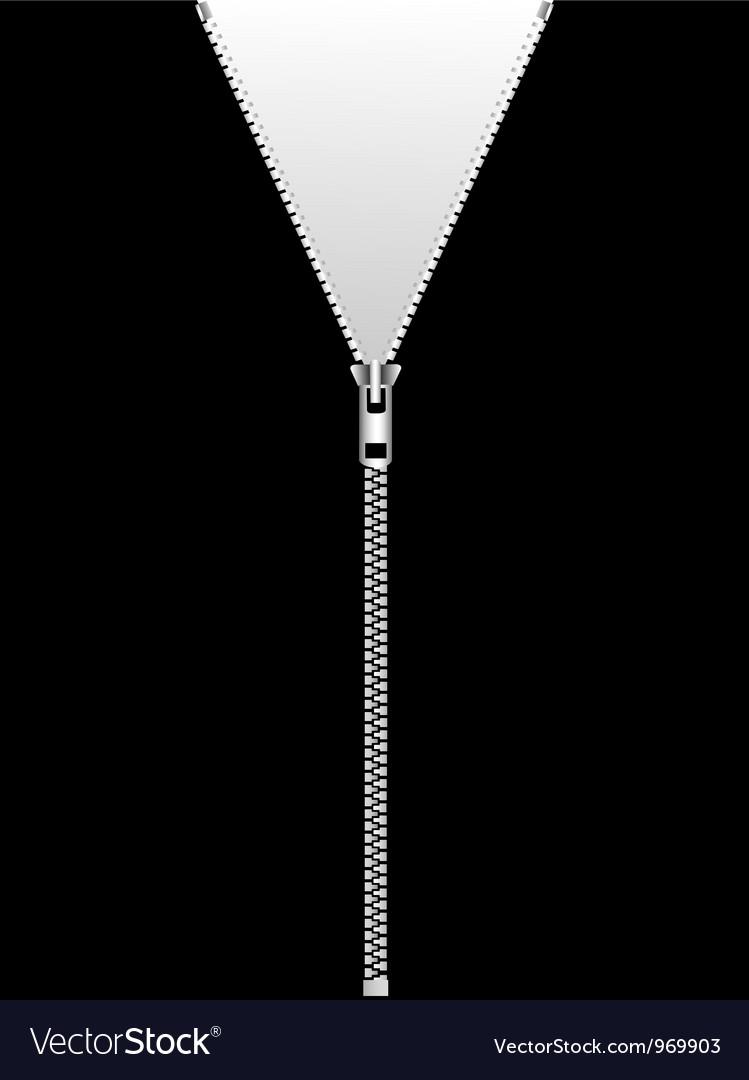 Zipper isolated on black vector