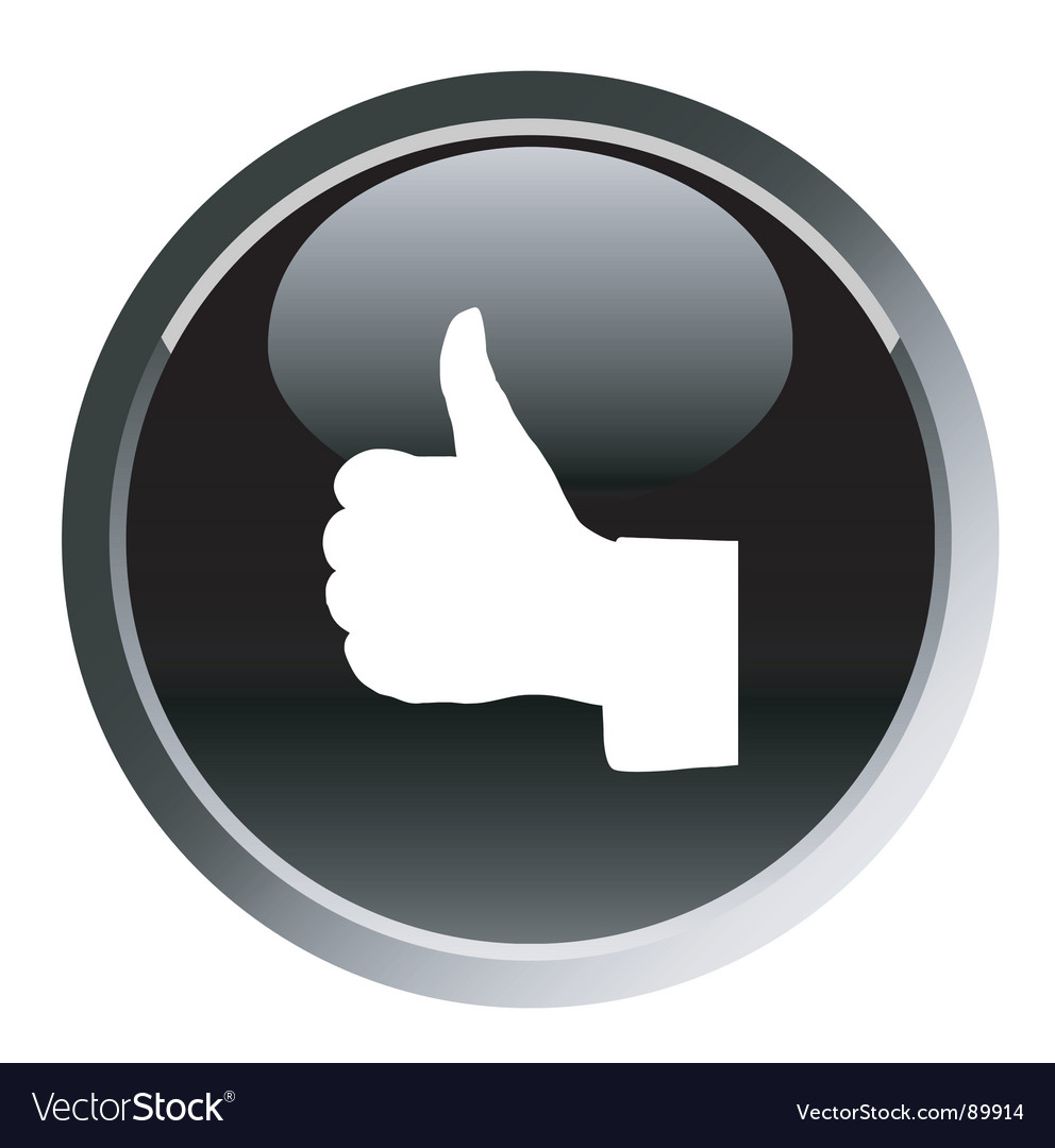 Thumb up sign round button vector