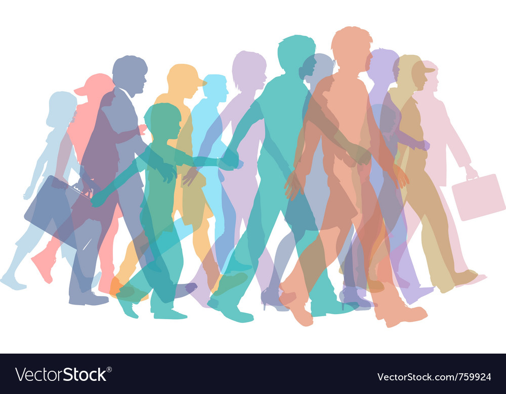 Colorful crowd of people vector