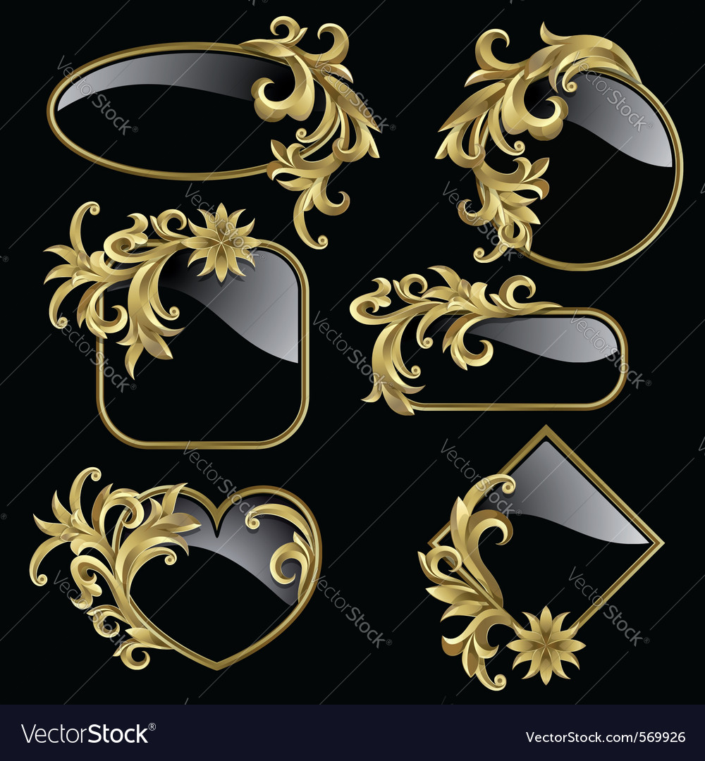 Gold frames vector