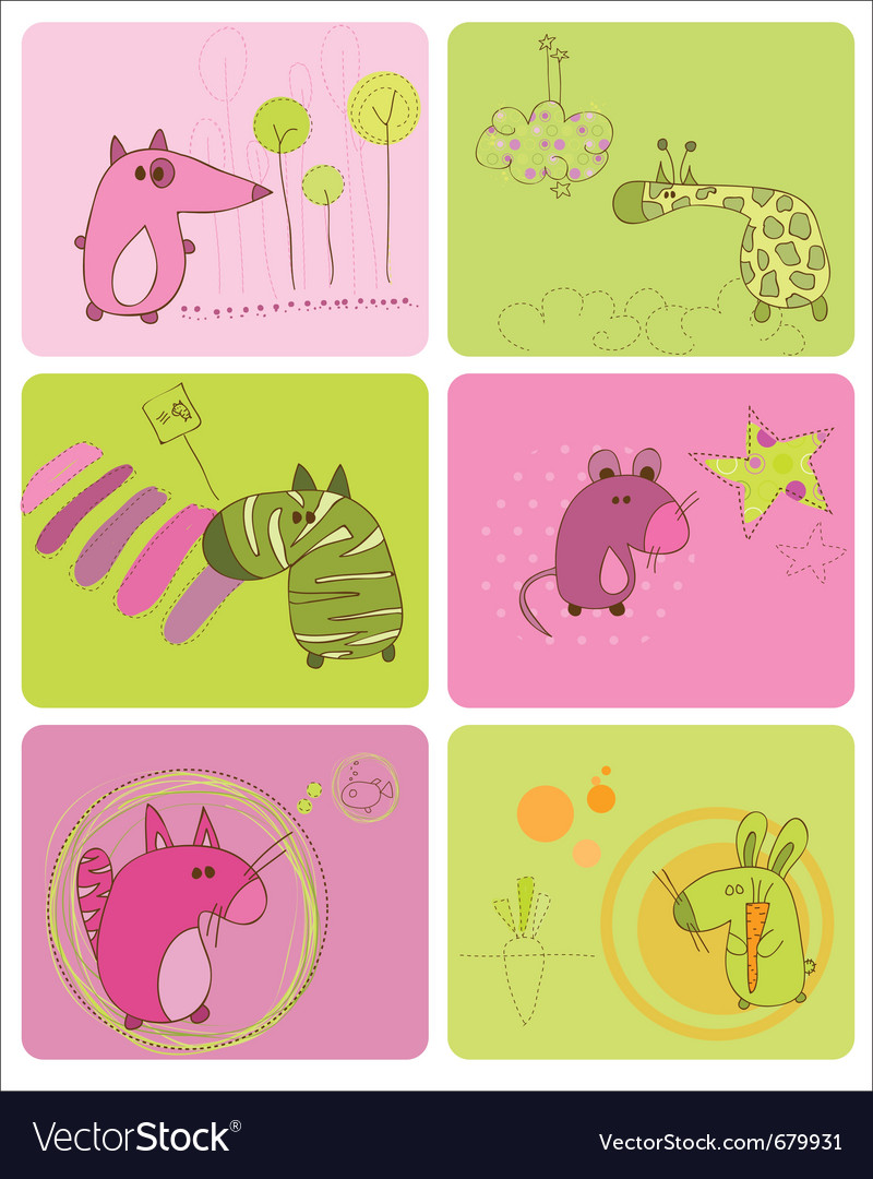 Cartoon animals card vector