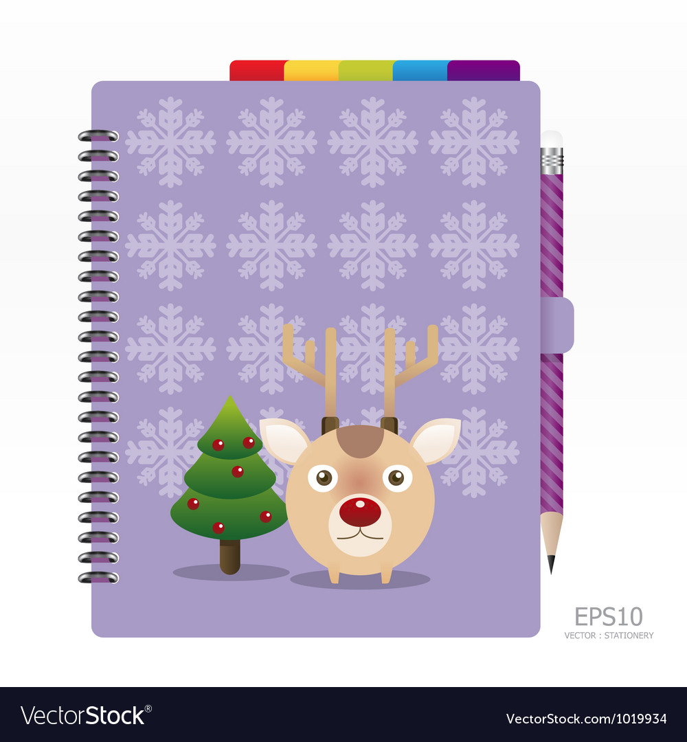 Note book violet color with pencil vector