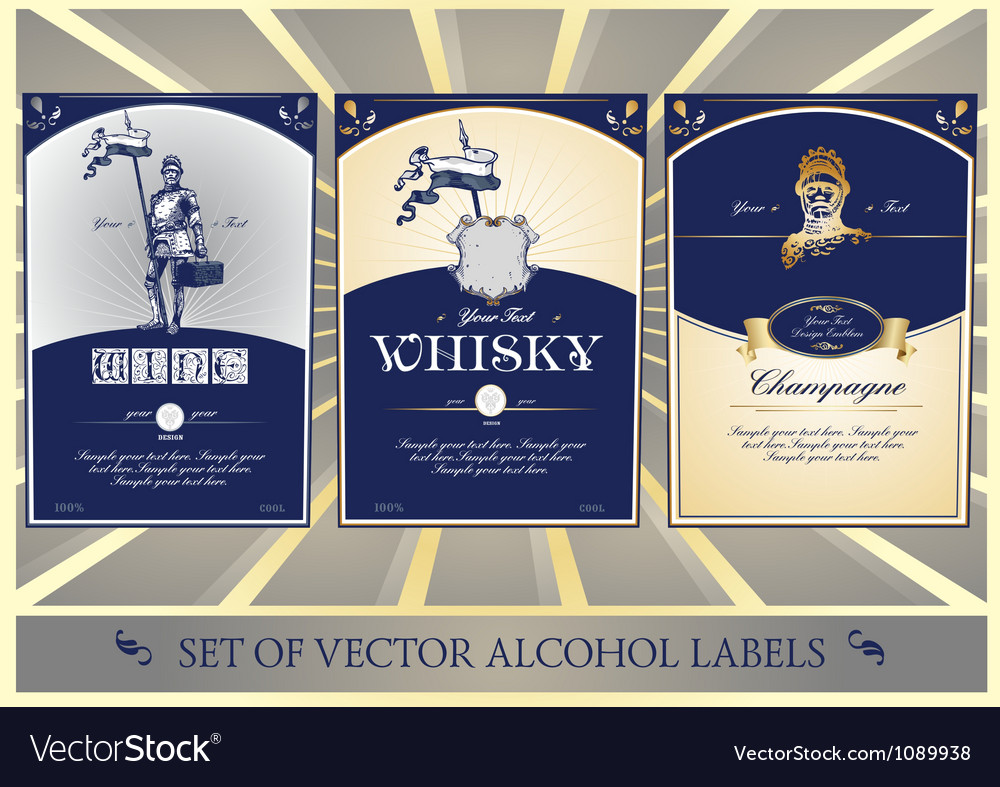 Collection of labels for alcohol vector