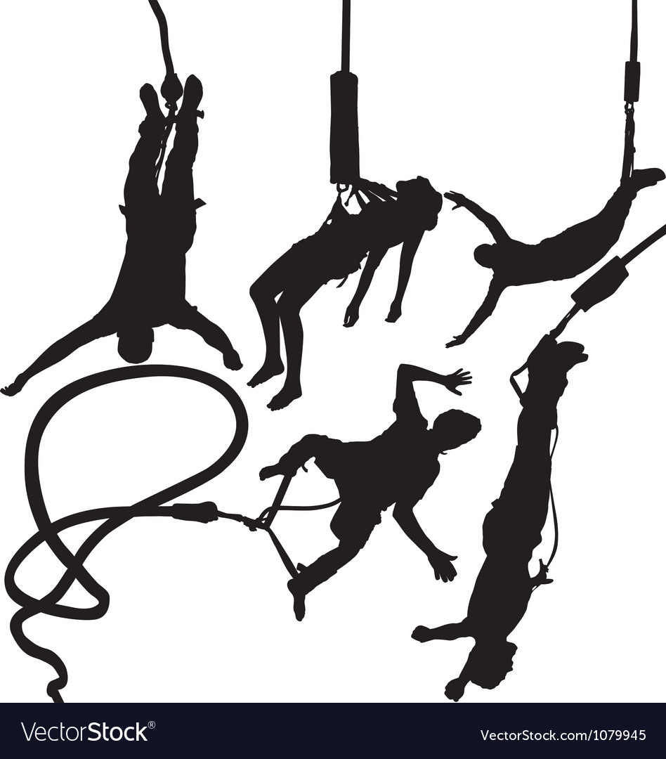 Bungee jumper silhouettes vector