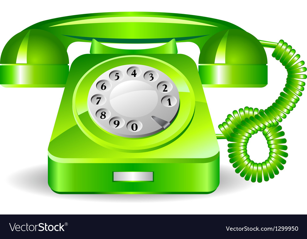 Retro green telephone vector