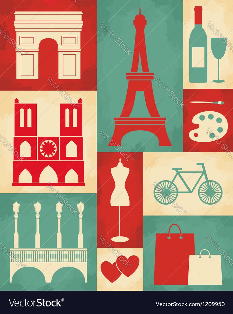 Retro paris poster vector