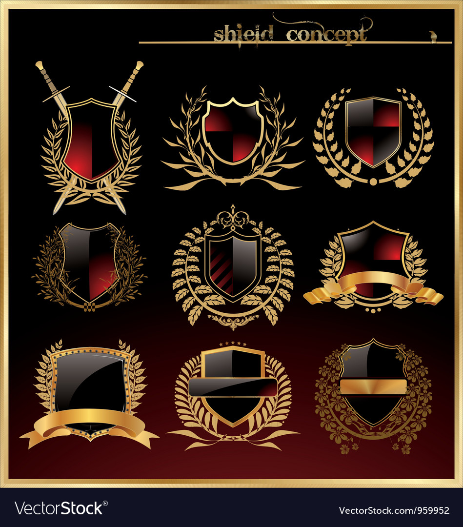 Shield and laurel wreath - set vector