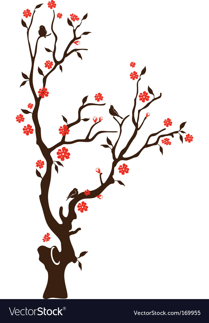 Oriental cherry with birds vector