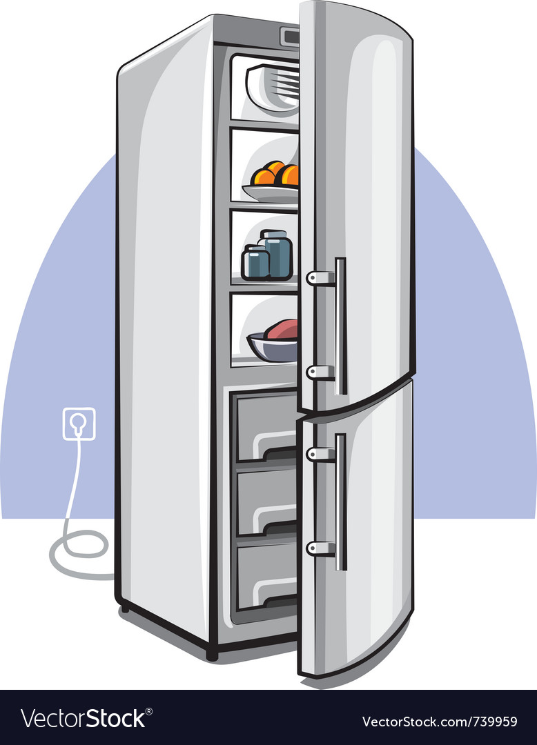 Two door refrigerator vector