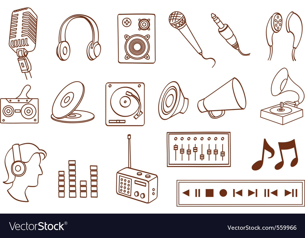 Doodle audio related icon set vector