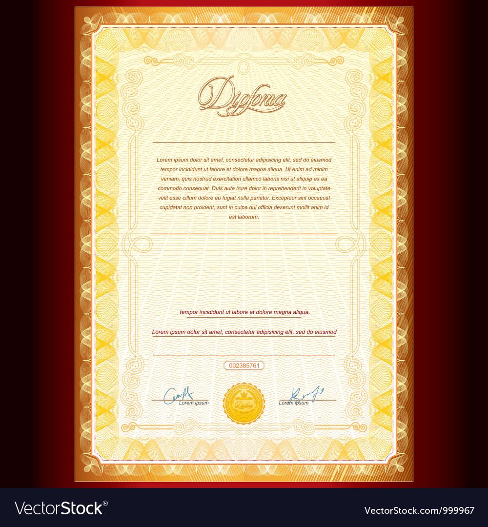 Royal golden diploma vector