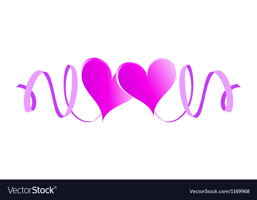 Two enamored hearts with ribbons vector