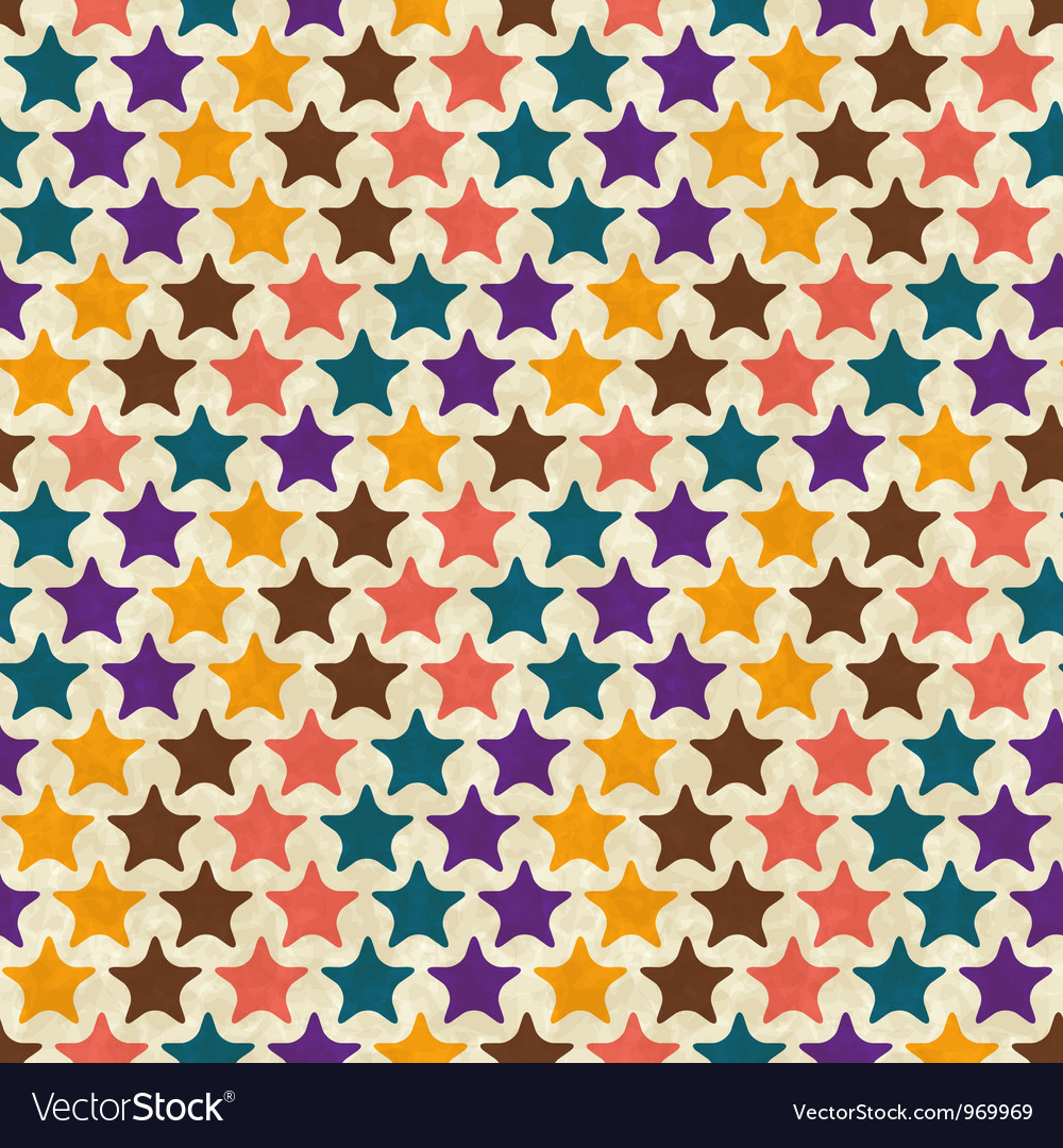 Retro seamless stars pattern vector
