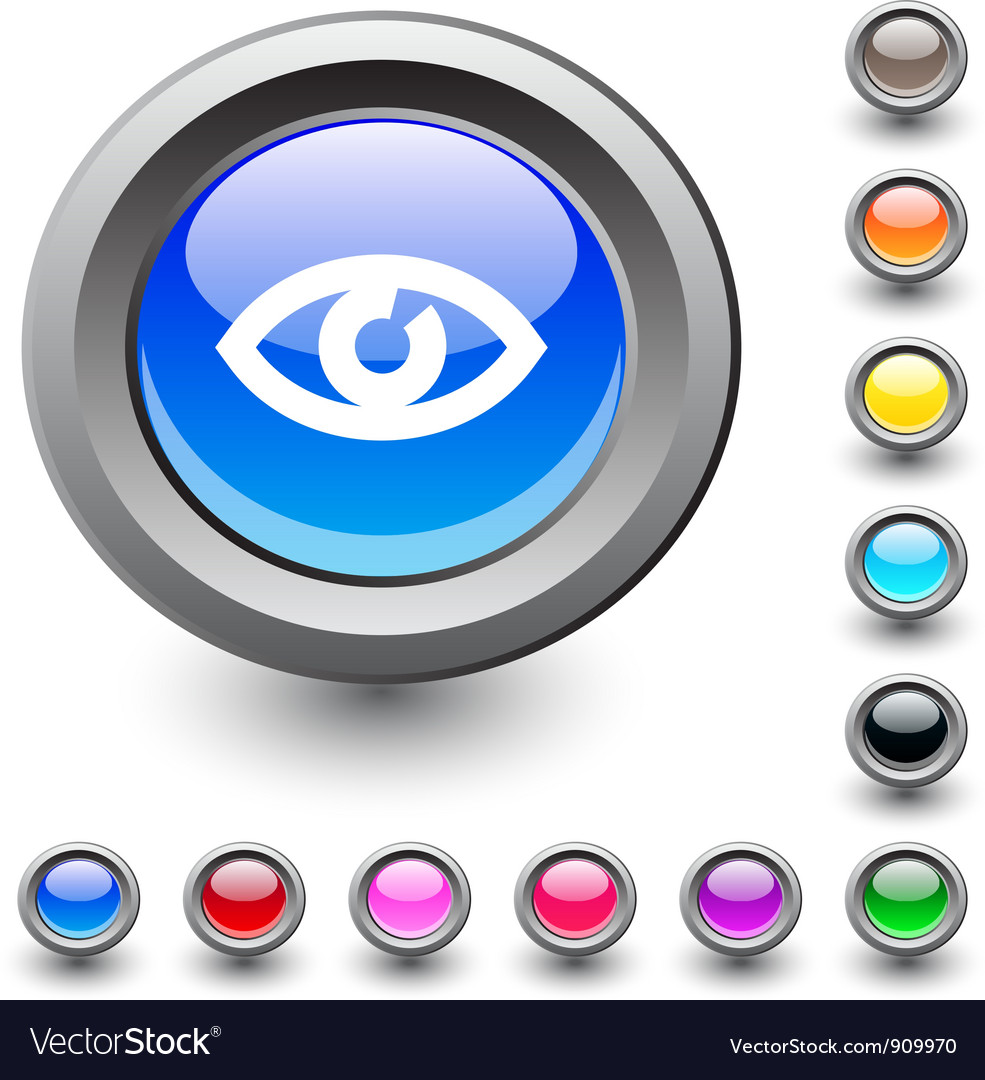 Eye round button vector