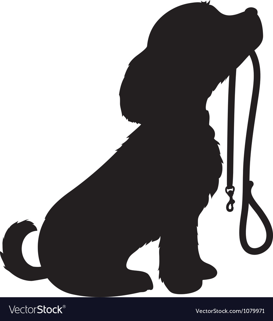 Dog and leash vector