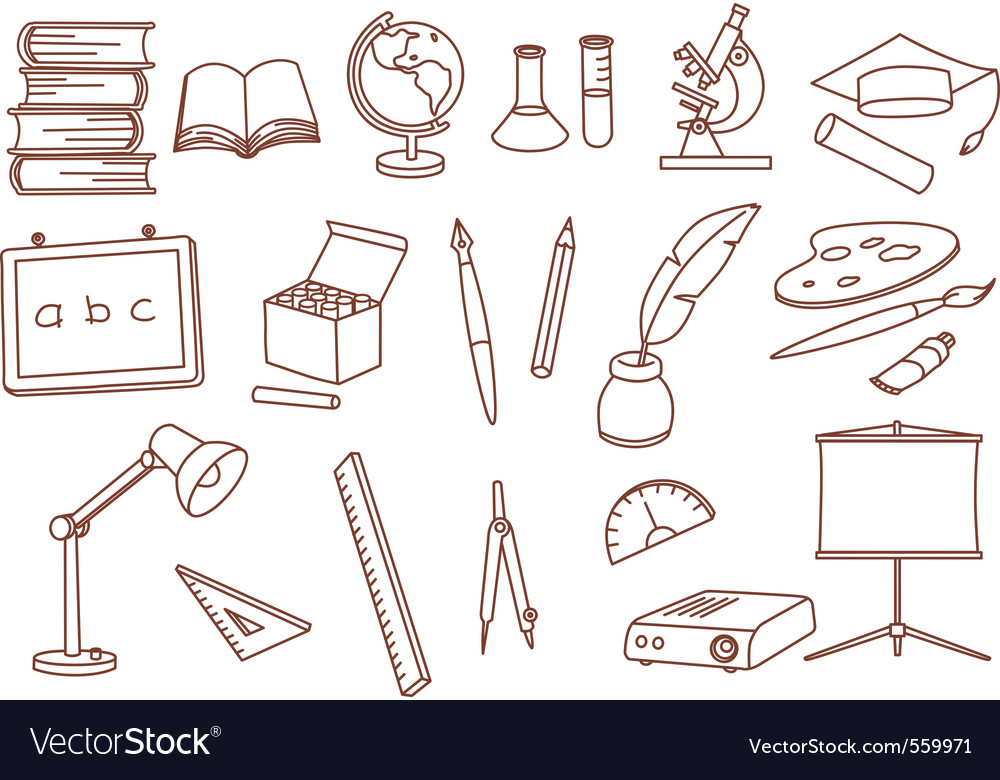 Education related doodle icons vector