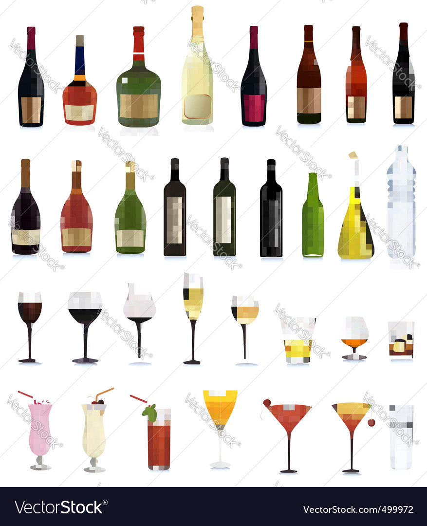 Bottles and cocktails vector
