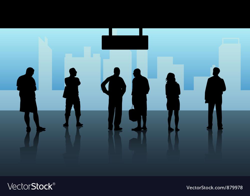 People waiting skytrain vector