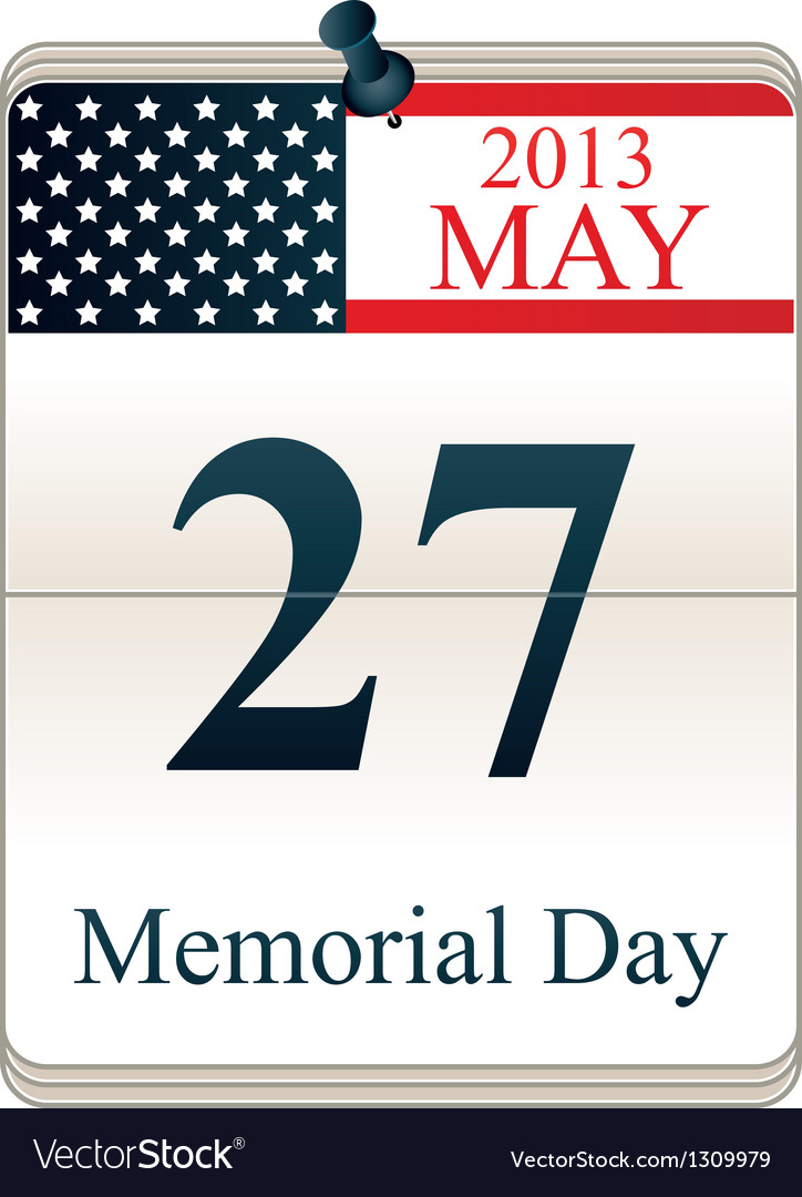 Calendar for memorial day vector